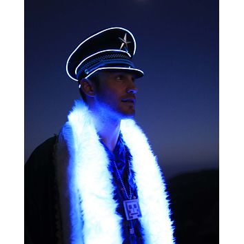 Blue Light Up Military General Hat