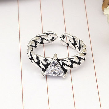 Gift Jewelry Shiny New Arrival Stylish 925 Silver Korean Strong Character Vintage Twisted Accessory Ring [7652916615]