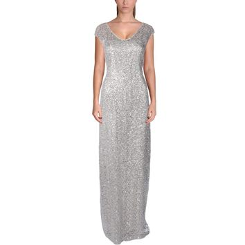 Kay Unger New York Womens Lace Sequined Evening Dress