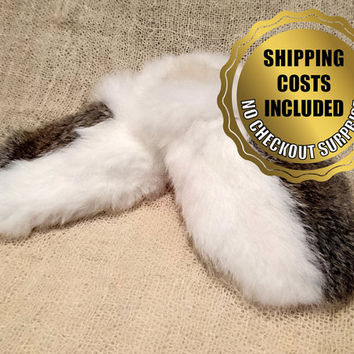 Women's Rabbit Fur Slippers - 100% Naturel Genuine