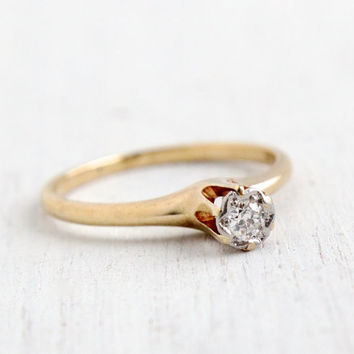 Antique 14k White & Yellow Gold Diamond Ring - Vintage Size 6 1/2 1910 1920s Edwardian - Art Deco Raised Solitaire Fine Jewelry