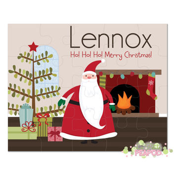 "Santa Christmas Puzzle - Personalized 8"" x 10"" Puzzle - 20 or 100 pieces - Santa Puzzle Puzzle - Personalized Name Puzzle"