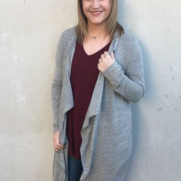 In My Place - Long Sleeve Duster Cardigan in Oatmeal