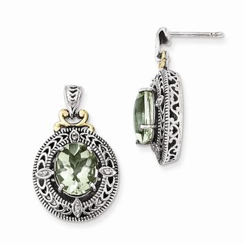 Antique Style Sterling Silver Diamond & Green Quartz Earrings