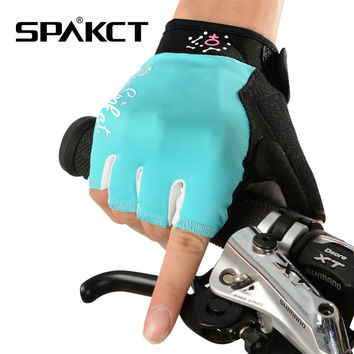 SPAKCT Women's Gel Pad Cycling MTB Road Bike Gloves Bicycle Cycle Pole Dancing Short Half Finger Gloves Mittens-Simple Love