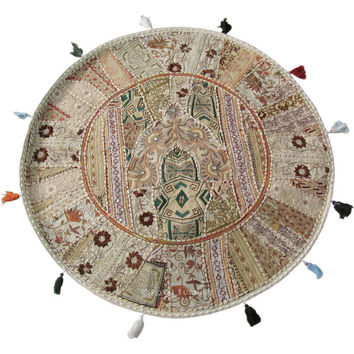 """32"""" White Color Round Patchwork Floor Seating Embroidered Pillow Cushion Cover Ethnic Indian Vintage Decorative Art"""