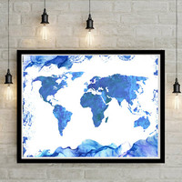 World map Large Wall Art Print Watercolor Abstract painting Poster Gift Home Decor Birthday gift for her Wedding gift Wall Decor