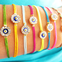 Neon evil eye bracelet in assorted colors wholesale jewelry swarovski eye charm best friend birthday arabic turkish jewelry summer teenagers