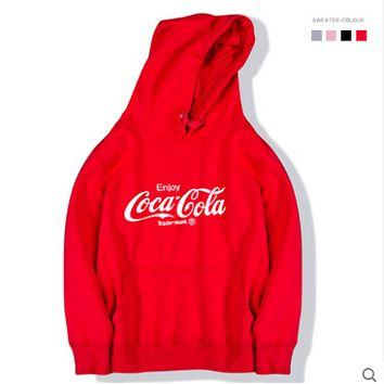 Coca-Cola tide brand hooded sweater cotton men and women with hooded hoodies couple relaxed exercise Red