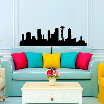 Seattle Skyline City Silhouette Wall Vinyl Decal Sticker Home Decor Art Mural  Z385