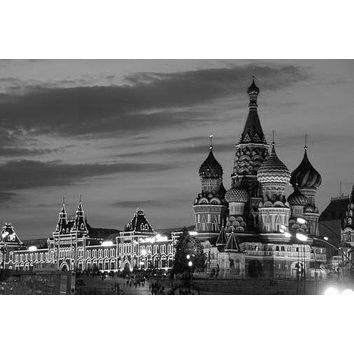 Moscow Red Square Skyline poster Metal Sign Wall Art 8in x 12in Black and White