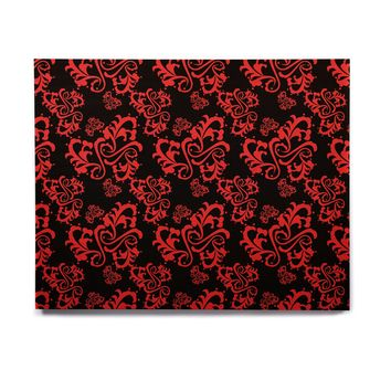 "Mydeas ""Sweetheart Damask Black & Red"" Pattern Birchwood Wall Art"
