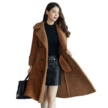 Long Faux Sheepskin Coat 2018 Winter Fashion Women Leather Suede Jacket Clothing Warm Ladies Faux Sheepskin Lamb women wool coat