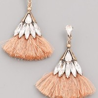 Jeweled Tassel Earring - Peach