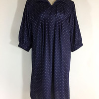 Vintage Dress Blue Dress Navy Blue White Dress Polyester Dress 1960s Dress Polka Dot Dress Plus Size Dress