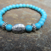 "Turquoise Stretch Bracelet - Antique Silver ""Blessed Charm"" Boho Beach Bracelet - Stacking Bracelet -Beaded bracelet -gemstone bracelet"