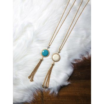 Two Faced Tassel Necklace: Teal & Ivory