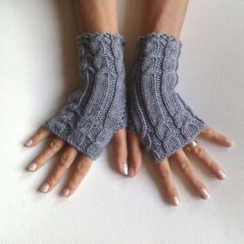 80 Cashmere glove Grey fingerless gloves cozy luxury gloves cable gloves gray gloves armwarmers super soft