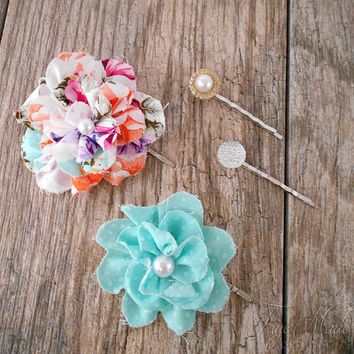 Flower Hair Pins, Bridal Bobby Pins, Rhinestone hair pins, Flower Bobby Pin, Vintage  Hair Accessories, Wedding Hair, Set of Bobby Pins