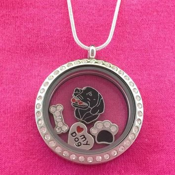 Labrador Retriever Floating Charm Locket Necklace Black and Chocolate - Circle with Crystals