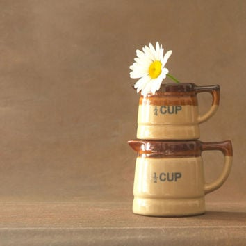 Little Brown Pitcher Measuring Cups, Farmhouse Decor, Brown Ceramic Stoneware Miniature Pots