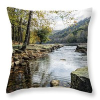 "Valley Falls State Park - West Virginia Throw Pillow 14"" x 14"""