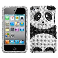 MyBat Playful Panda With Full Rhinestones Faceplate Hard Plastic Protector Snap On Cover Case For Ap