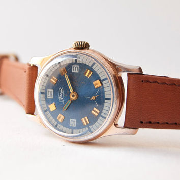 Unisex wrist watch ZIM blue brown gold tones Soviet by SovietEra