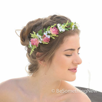 Woodland Wedding Flower Crown in Pink and White for Your Wedding Day, Flower Headpiece, Floral Wedding Wreath, Wedding Hair