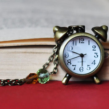 Alarm Clock Shape Pocket Watch With Colorful Glass Beads