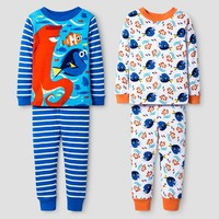 Toddler Boys' Finding Dory 4-Piece Cotton Pajama Set Blue