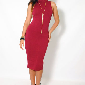 (amc) High neck key hole on back burgundy midi dress