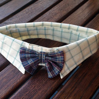 Small Dressy Dog Collar with Bow, Bow Tie Dog collar, Dress Shirt Dog Collar, Dress Shirt Pet Collar, Pet Collar Tuxedo, Dog Tuxedo Collar