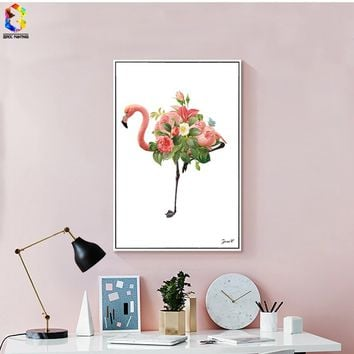Nordic Flamingo Canvas Art Print Poster, Flower Wall Paintings for Living Room Decoration, Home Decor