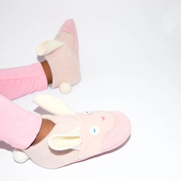 Girl Bunny Shoes, Kids Bunny Slippers, Easter Bunny Baby, Wool Bunny Shoes