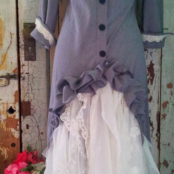 LAST CHANCE / Upcycled Clothing / Western Wedding Dress /  Steampunk Upcycled  Wedding Dress / Xsmall / Small