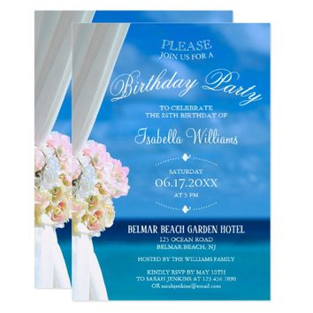 Elegant Floral Ocean Beach Summer Birthday Party Card