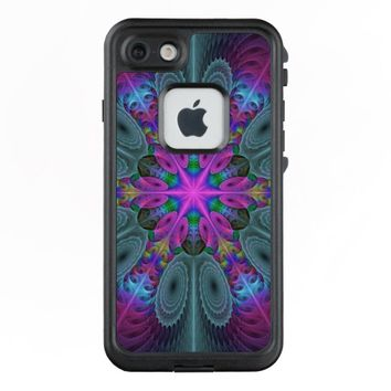 Mandala From Center Colorful Fractal Art With Pink LifeProof® FRĒ® iPhone 7 Case