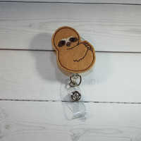 Sloth - Animal badge reel -  Retractable ID Badge Holder - Felt Badge Reel - Nurse Badges - badge reel
