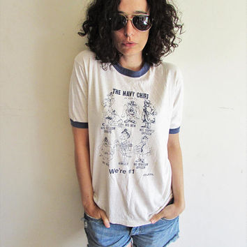 Vintage Distressed Trashed 80s White Funny Cartoon Navy Chief Officer Military Ringer T Shirt