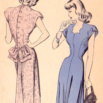 "1940s Misses Dress Vintage Sewing Pattern, Scalloped Neckline, Hollywood 415 bust 30"" uncut"