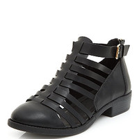 Wide Fit Black Caged Multi Strap Boots