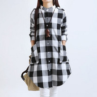 Plaid Maternity Dress Long Blouses Clothes For Pregnant Women 2015 New Fashion Spring Clothing For Pregnancy Roupa Gestante = 1946482884