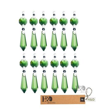 38MM 10Pcs/bag Green Crystal Chandelier Lamp Lighting Part Glass Drop Prisms Pendants With Sliver Butterfly Buckle Home Ornament