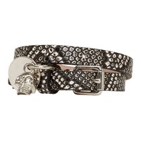Alexander Mcqueen Black And White Lizard Skin Double Wrap Bracelet