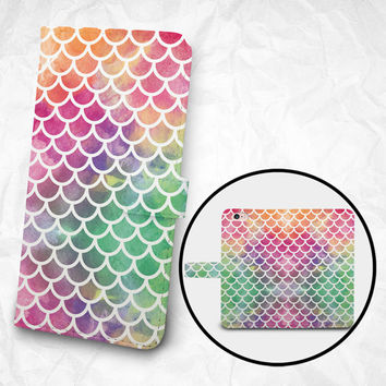 iPhone 6 6S Plus case, Samsung Galaxy S6 case, Edge case, Note 5 4 3 2 PU leather flip cover, wallet case, colourful fish fins (BBSP-013)