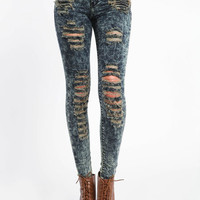 HIGH WAIST SHREDDED SKINNY JEANS