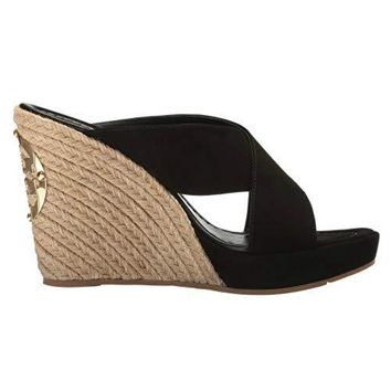 Tory Burch Bailey 110 Mm Mule Wedges Suede Sandal Shoes