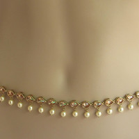 Wedding Gold Belly Chain/Champagne Stone Waist Chain/Gold Bridal Belt/Kamar Band
