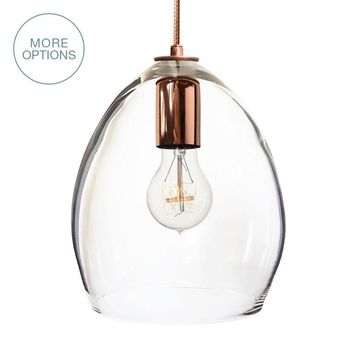 Hand Blown Modern Orb Glass Egg Clear Glass Pendant Light